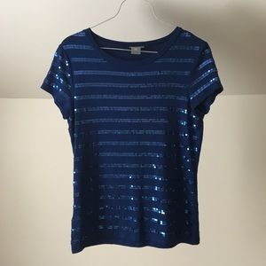 ANN TAYLOR Royal Blue Sequin Striped Fitted Tee